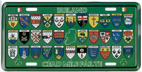 Ireland 32 County Crest Novelty Metal Driving Plate