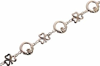 Silver Claddagh Shamrock Bracelet (Sterling Silver)