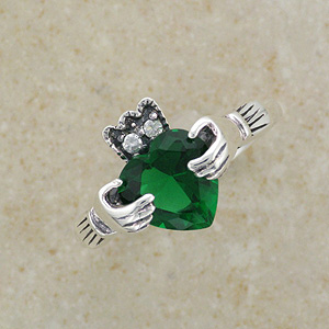 Claddagh Silver Ring with large CZ Emerald Stone