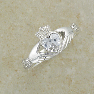 CZ Claddagh Silver Ring from Ireland