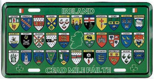 32 County Map Of Ireland.Signs Plates American Size License Plates