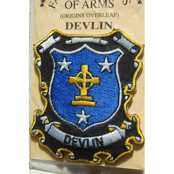 Crest Embroidered DEVLIN Family PATCH Heraldic Coat of Arms Badge