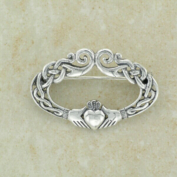 Celtic Design Irish Claddagh Brooch
