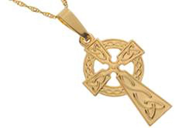 Celtic Cross Chains 10K Gold Celtic Cross Emblem Pendant Irish