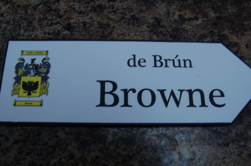 BROWNE Coat of Arms on Wooden Sign