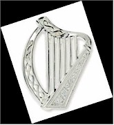 Silver White Harp Irish Brooch
