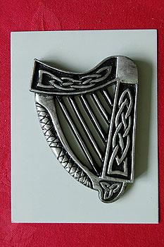 """Irish Harp Turf Plaque 3.5"""" (500 year old Irish peat)"""