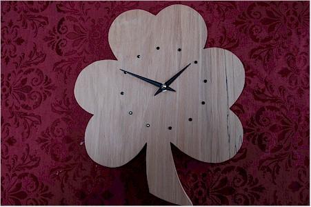 Irish Beech Wood Shamrock Clock (by Paul McEvoy)