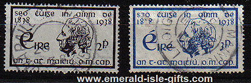 Ireland 1938 Father Matthew Temperance Set Of 2 Used