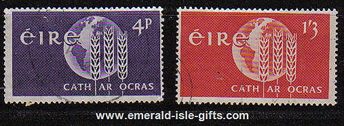 Ireland 1963 Freedom From Hunger Campaign Set Of 2 Used