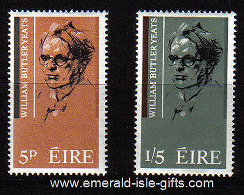 Ireland 1965 Wb Yeats Poet Birth Set Of 2 Mnh Sc 200/1