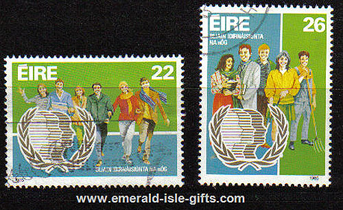 Ireland 1985 Un International Youth Year Used Set Of 2