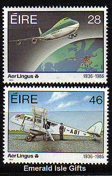 Ireland 1986 Aer Lingus Airline 50th Anniv Set Of 2 Mnh