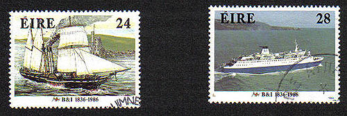 Ireland 1986 Maritime Anniversaries B & I Used Set Of 2