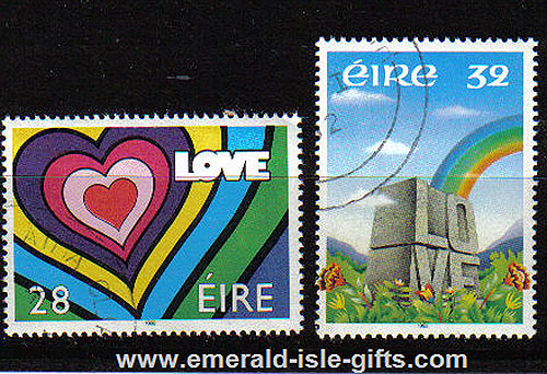 Ireland 1992 Love Stamp Used Set Of 2