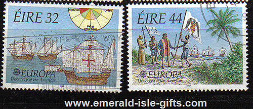 Ireland 1992 Europa: Columbus Used Set Of 2