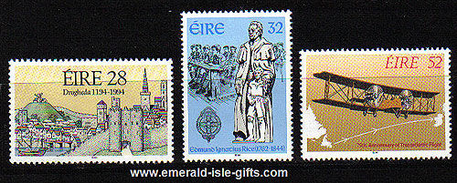 Ireland 1994 Annivs Alcock & Brown Etc Mnh Set Of 3