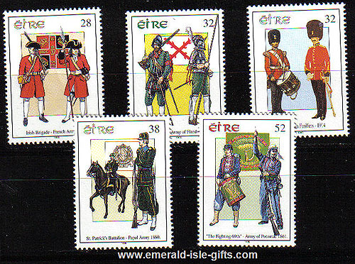 Ireland 1995 Military Uniforms Thru The Ages Set Of 5