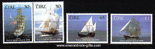 Ireland 1998 Sailing Tall Ships Race Set Of 4 Mnh