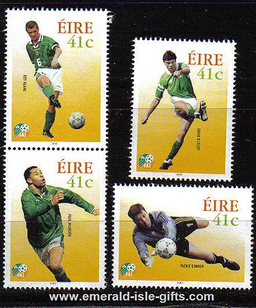 Ireland 2002 Soccer Heroes Roy Keane Etc Set Of 4 Mnh