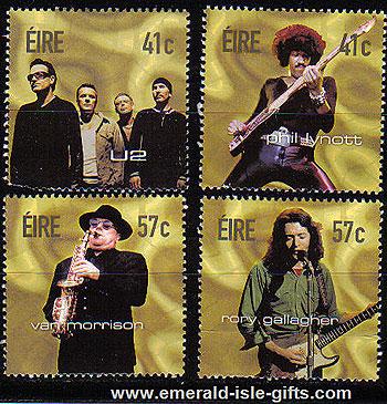 Ireland 2002 Irish Rock Legends U2 Etc Set Of 4 Mnh