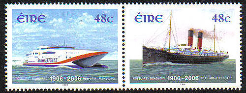 Ireland 2006 Rosslare Fishguard Ferry Set 2 Mnh Stamps