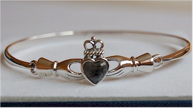 Irish Claddagh Connemara Marble Bangle