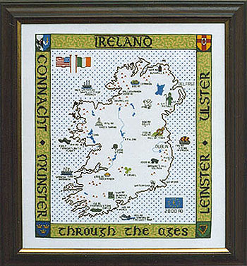 Historical Map Of Ireland Cross Stitch