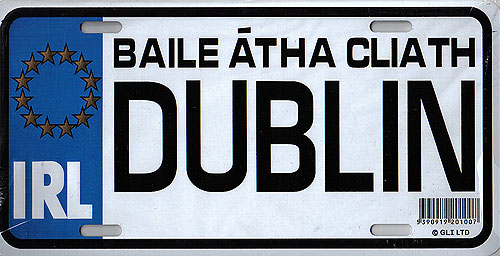 Dublin Fun Metal Irish License Plate