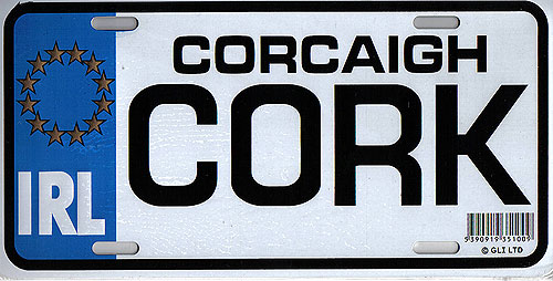 Cork Fun Metal Irish License Plate