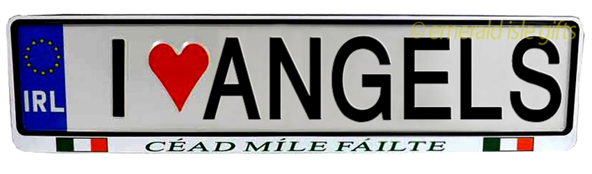 I Love ANGELS Irish Driving Plate