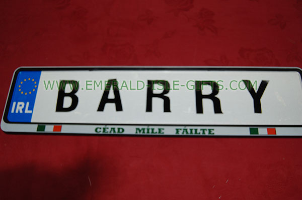Family Name Driving Plates - Barry Family Irish Driving Plate