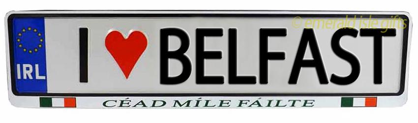 I Love BELFAST Irish Driving Plate (Crafted in Ireland)