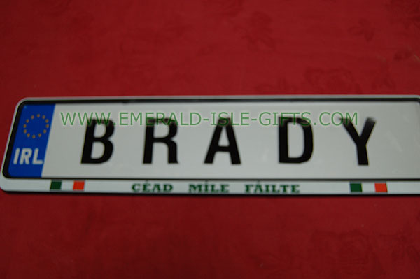 Brady Family Irish Driving Plate