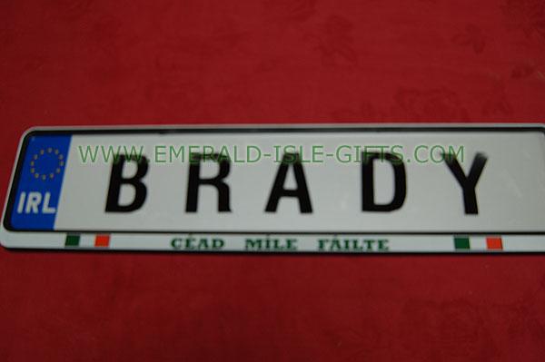 Brady Family Irish Driving Plate (from Ireland)