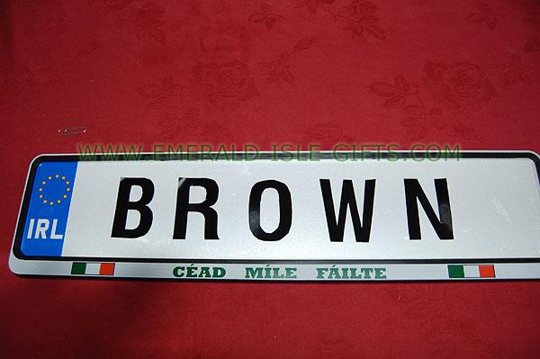 Brown Family Irish Driving Plate (Made in Ireland)