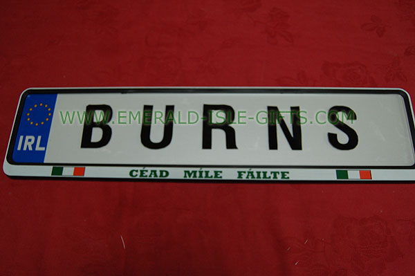 Burns Family Irish Driving Plate