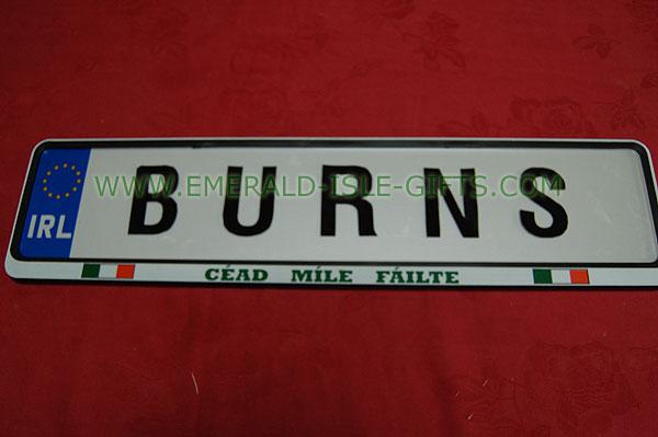 Burns Family Irish Driving Plate (Great gift item !)