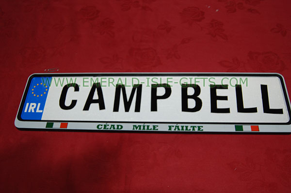 Campbell Family Irish Driving Plate