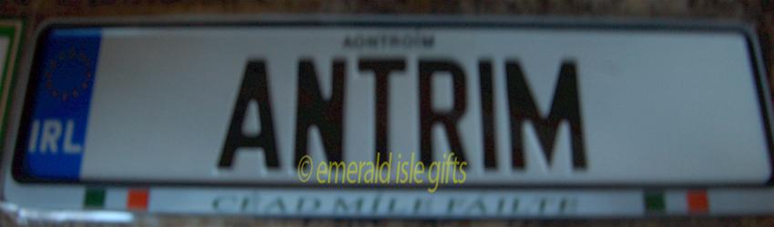 I Love ANTRIM Irish Driving Plate (Crafted in Ireland)
