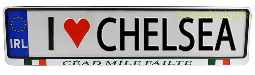 I Love CHELSEA Irish Driving Plate (Crafted in Ireland)