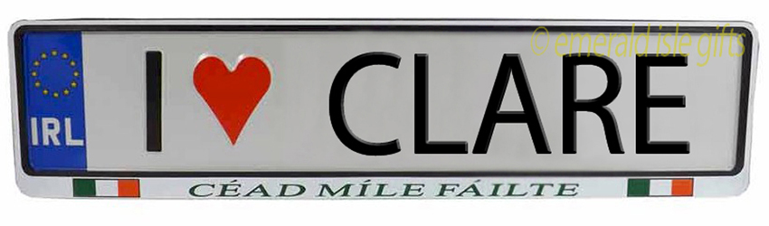 I Love CLARE Irish Driving Plate (Crafted in Ireland)