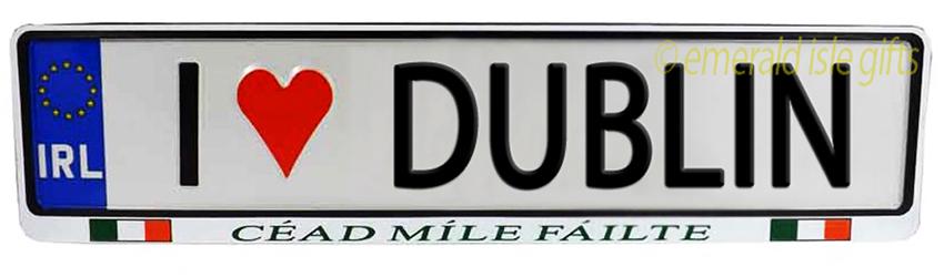 I Love DUBLIN Irish Driving Plate (Crafted in Ireland)