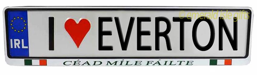 I Love EVERTON Irish Driving Plate (Crafted in Ireland)