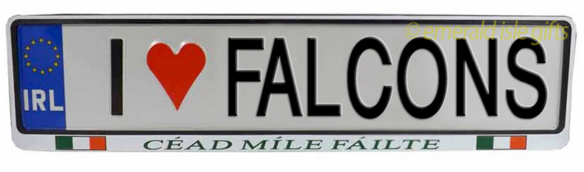 I Love FALCONS Irish Driving Plate