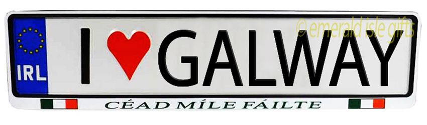 I Love GALWAY Irish Driving Plate (Crafted in Ireland)