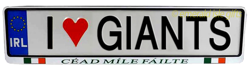 I Love GIANTS Irish Driving Plate