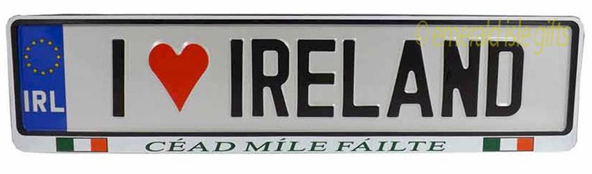 I Love IRELAND Irish Driving Plate (Crafted in Ireland)