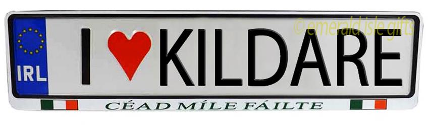 I Love KILDARE Irish Driving Plate (Crafted in Ireland)