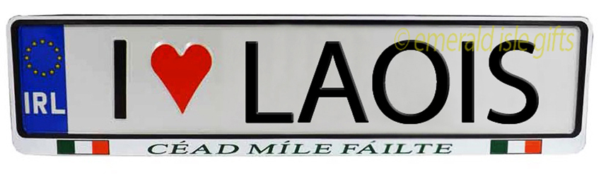 I Love LAOIS Irish Driving Plate (Crafted in Ireland)
